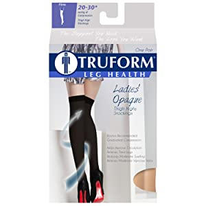 Truform Women's Compression Stockings, 20-30 mmHg, Thigh High Length, Closed Toe, Opaque, Beige, Small (20-30 mmHg) (Color: Beige (Closed Toe), Tamaño: Small (20-30 mmHg))