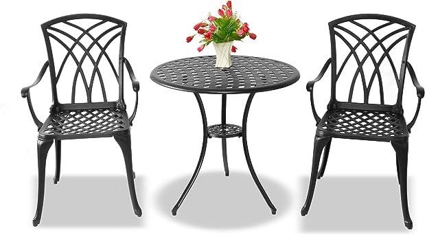 Centurion sostiene Oshowa lusso Tavolo da giardino e patio e 2 sedie con braccioli in alluminio pressofuso bistro grande set - nero