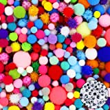 HEHALI 1600pcs Pom Poms Set,Including 1500pcs Pom Poms Craft Assorted Sizes and Colors with 100pcs Wiggle Googly Eyes for Hobby Supplies and Creative Craft DIY Material (1600 pcs) (Color: 1600 pcs)