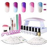 Gel Nail Polish Starter Kit, with 6W UV LED Nail Dryer Manicure Tools 5 Color Changing Gel polish Top and Base Coat, Portable Kit for Travel (Color: Gel Polish Starter Kit)