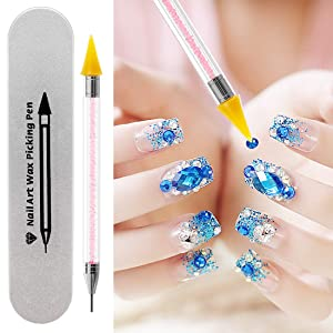 Nail Art Rhinestones Picker Wax Pencil Pickup Dual Tips Dotting Pen Beads Pearls Gems Stones Applicator Crystal Manicure Tool Applicator for Beauty Design + 2 Extra Wax Tip Replacements (Color: Dual-Tips Rhinestones Pen Picker)