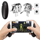 Mobile Game Controller, EAONE 2 in 1 Gamepad Joysticks L1R1 Aim Trigger Fire Buttons Sensitive Shoot with 2Pcs Joystick Controllers for PUBG/Rules of Survival Fit iOS Android 4.7