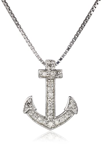 Sterling-Silver-1-10cttw-Diamond-Anchor-Pendant-Necklace-18-