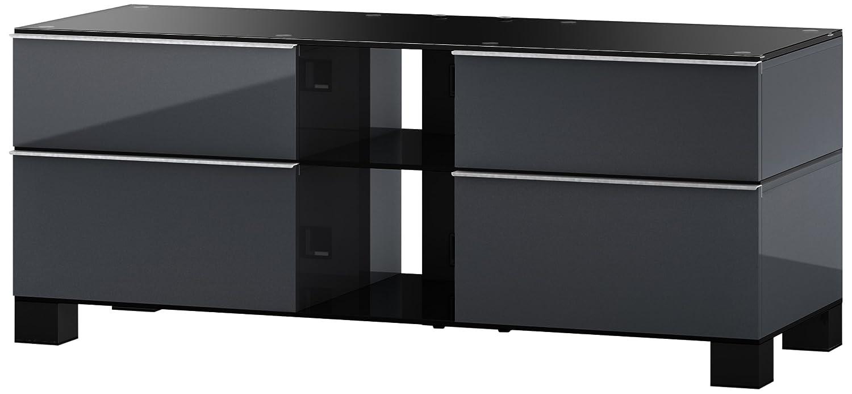Sonorous MD 9220-B-HBLK-GRP Fernseher-Möbel mit Schwarzglas (Aluminium Hochglanz, Korpus Hochglanzdekor) graphit/schwarz