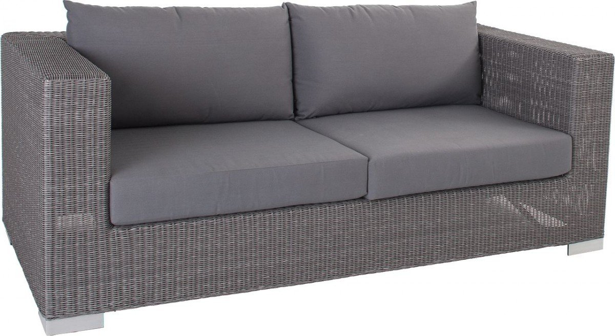 Dreams4Home Lounge 2er Sofa 'Quincy' – 2er Sofa, Sofa, Loungesofa, Balkonsofa, Gartensofa, Chaiselong, Terrassenmöbel, Loungemöbel, Cocktailmöbel, B/H/T: 174 x 65 x 87 cm, Gartenmöbel inklusive Kissen, Rattan, Aluminiumgestell, in grau günstig bestellen