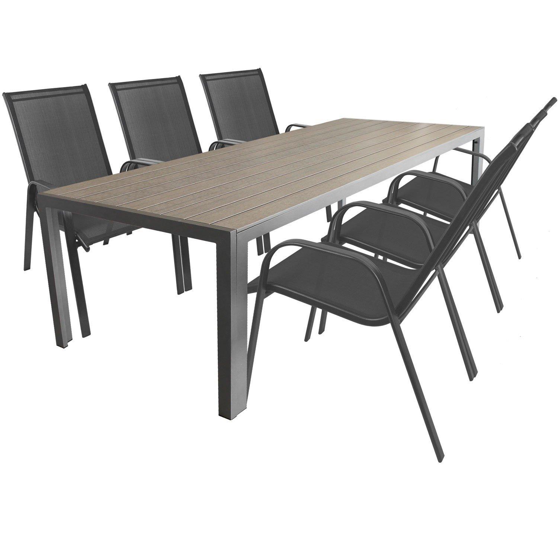7tlg. Gartengarnitur Aluminium Gartentisch mit Polywood-Tischplatte 205x90cm + stapelbare Gartenstühle Stapelstühle mit 2x1 Textilenbespannung Terrassenmöbel Sitzgarnitur Sitzgruppe Gartenmöbel