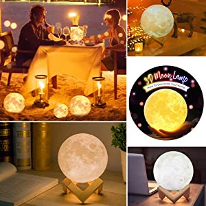 2 Colors, 3.9inch MAGIFIRE Night Light Lighting LED 3D Printing Warm Moon Lamp Touch Control Brightness Gift for Kids and Halloween Equipment
