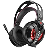 COMBATWING Lightning II Gaming Headset with Noise-Cancelling Mic&7.1 Surround Sound, Advanced Lightweight Headphones with Memory Earmuffs, LED Light, Mic/Volume Control for PS4, Xbox One, PC, Switch (Color: Black)