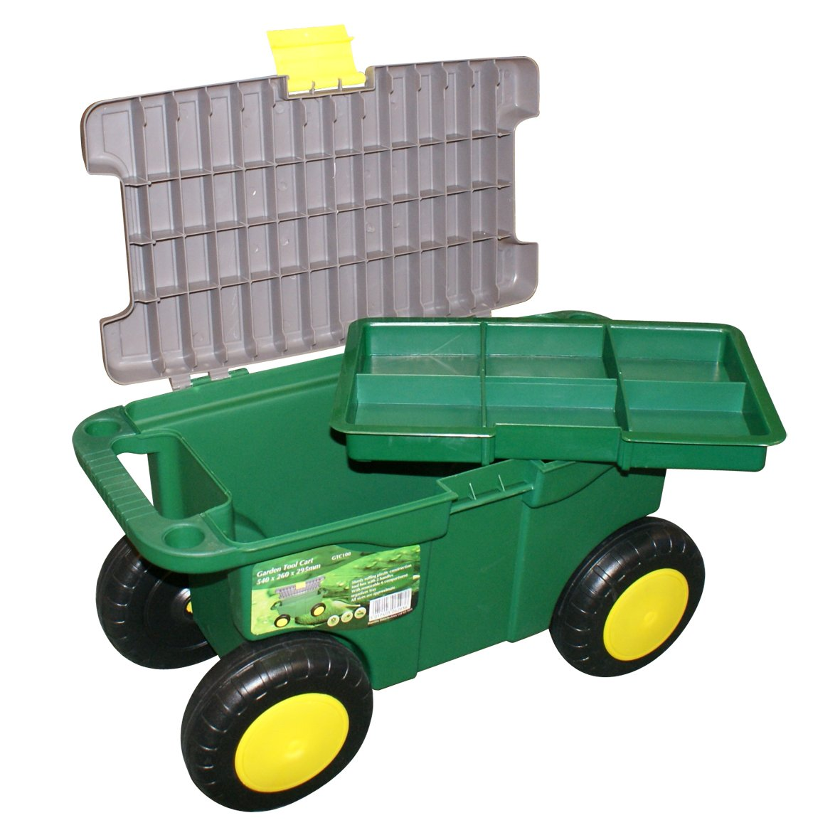 Mobile Garden Cart Gardening Chest Tool Box Seat On Wheels