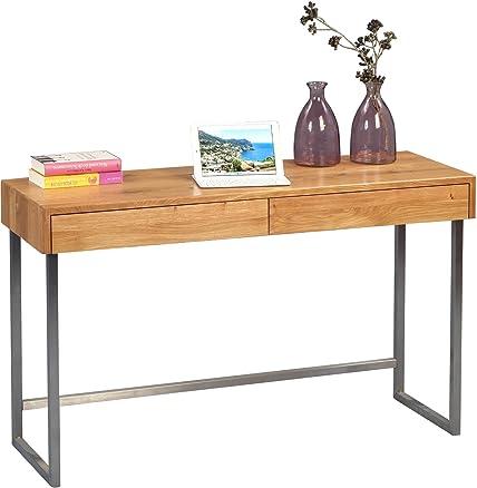 HomeTrends4You 616022Console/scrive tavolo, legno, Rovere/in acciaio inox, 120x 42x 75cm