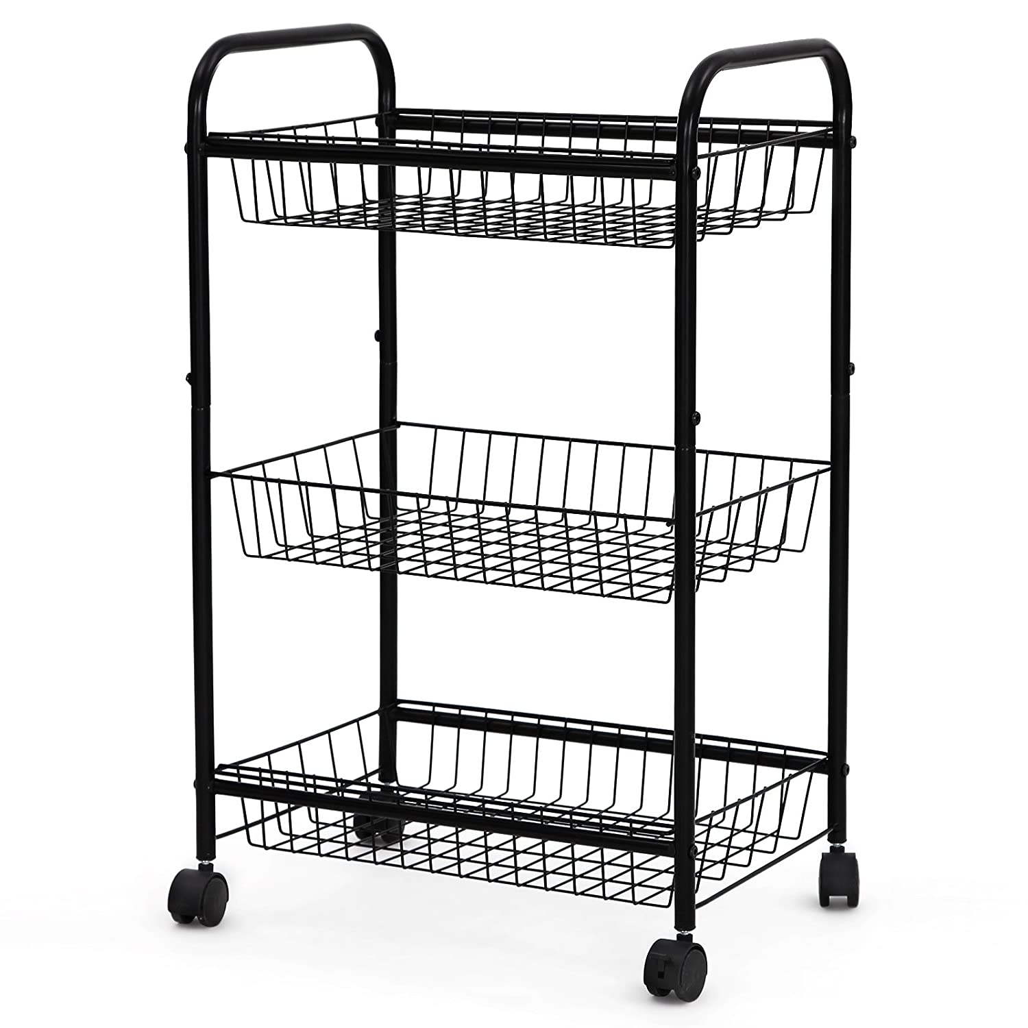 Songmics 3 Tiers Rolling Storage Cart with 2 Removable Baskets Kitchen Pantry Laundry Organizer Bathroom Utility Cart on Wheels Black UBSC03H