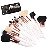 ZOREYA(TM) Makeup Brushes 15 Piece High End Rose Gold Professional Makeup Brush Set Kit with Free Premium Quality Luxury Leather Make up Organizers Storage Case Bag plus Kabuki Brush