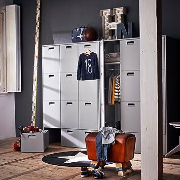 kids pine locker wardrobe store in grey