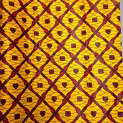 African Print Fabric Cotton Print Braveheart Yellow 44'' wide By The Yard Red Yellow