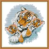 Joy Sunday Stamped Cross Stitch Kits, Tiger Mother and Tiger Baby Cross-Stitch Sets 11CT Embroidery Kit Needlework (Color: 11CT Stamped kit,Tiger mother and tiger baby)