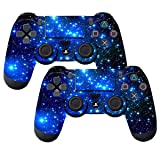 SubClap 2 Packs PS4 Controller Skin, Vinyl Decal Sticker Cover for Sony PlayStation 4 DualShock 4 Wireless Controller (Shinny Blue)