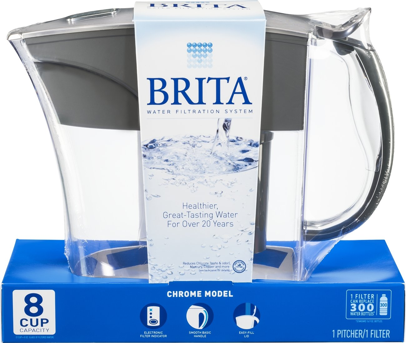 brita riviera water filter pitcher chrome 8 cup new. Black Bedroom Furniture Sets. Home Design Ideas
