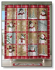Snow Time Country Snowman Holiday Shower Curtain