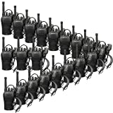 Retevis RT46 2 Way Radios Long Range Rechargeable Dual Power FRS Emergency Alarm VOX Hands Free Walkie Talkies with Earpiece and USB Charger (20 Pack) (Color: Black)