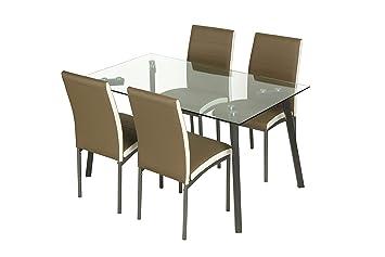 Conjunto de comedor 4 sillas tapizado camel Amelia y mesa cristal transparente 140x80