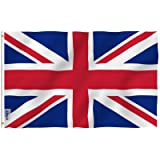 Anley [Fly Breeze 3x5 Foot United Kingdom UK Flag - Vivid Color and UV Fade Resistant - Canvas Header and Double Stitched - British National Flags Polyester with Brass Grommets 3 X 5 Ft (Color: UK, Tamaño: 3 X 5 Ft)