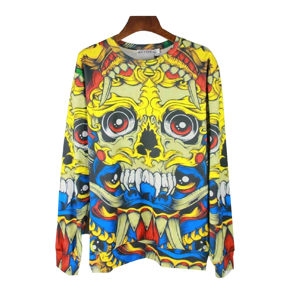 Blue Demon Yellow Skull Print T-Shirt