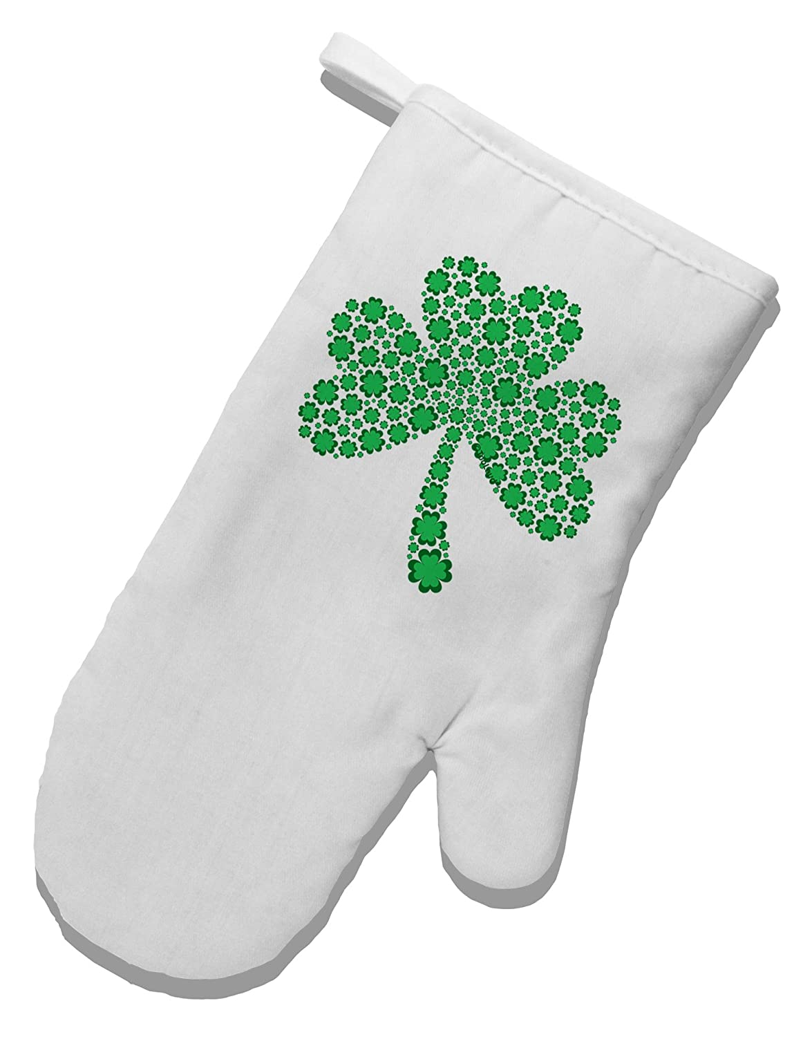TooLoud St. Patrick's Day Shamrock Design - Shamrocks White Printed Fabric Oven Mitt oven mitt flame resistant 100% cotton treated fabric each
