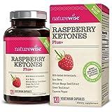 NatureWise Raspberry Ketones Plus+, Advanced Antioxidant & Green Tea Extract for Weight Loss, Appetite Suppression, Organic Kelp, Resveratrol, Vegan, Gluten-Free, 120 count