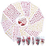 EBANKU 18 Sheets Christmas Nail Art Sticker Decals, 3D Self-adhesive Nail Stickers Decals for Christmas Nail Decorations Accessories (Color: 18sheets)