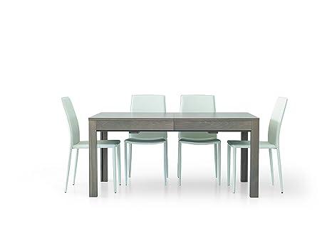 Table en bois moderne, extensible, couleur chêne gris, dimensions 160x90 à 332x90cm