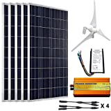 ECO-WORTHY 12V to 110V 900W Wind Solar Power: 5pcs 100W Poly Solar Panels + 1pc 12V/24V 400W Wind Turbine + 1KW 12V-110V Off Grid Inverter + Cable Connector for Home Use (Tamaño: 12V to 110V 900W wind poly solar kit)