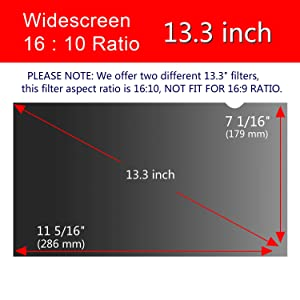 Anti-Spy/&Glare Film for 13.3 inch Widescreen Notebook Laptop Magicmoon Privacy Filter Screen Protector 13.3, 16:9 Aspect Ratio