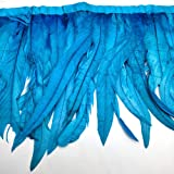 Natural Rooster Tail Feathers Fringe Trim (Sky Blue) (Color: Sky blue)