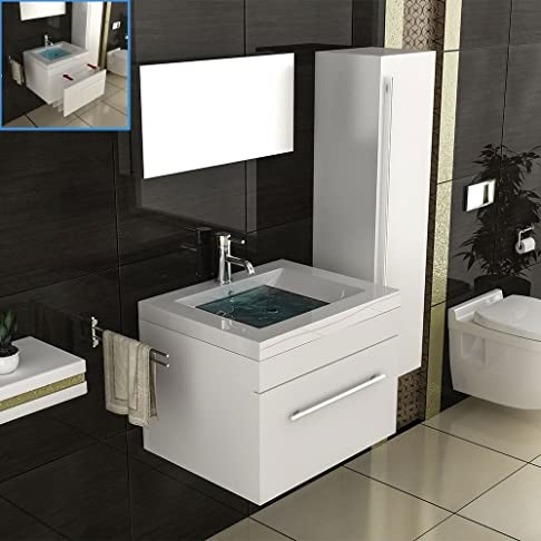 Bagno Set di mobili per il bagno in 60x 45cm, colore: bianco lucido, metallico in ghisa lavandino e mobiletto