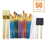 50 All Purpose Paint Brush Value Pack - Great with Acrylic, Oil, Watercolor, Gouache