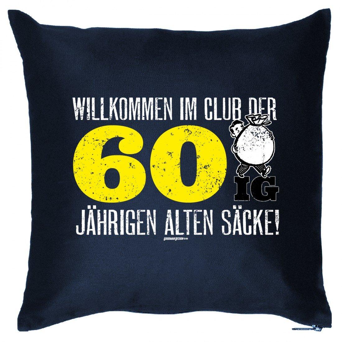 Sofakissen zum 60. Geburtstag – Willkommen im Club der 60 Jährigen alten Säcke – Geburtstaggeschenk – Wendekissen Humor günstig