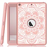 iPad 5th/6th Generation Case, Hocase Heavy Duty Shock Absorbent Rubber+Hard Plastic Dual Layer Protective Case w/Mandala Floral Print and Kickstand for iPad 9.7 2018/2017 - Rose Gold (Color: A01 - Rose Gold)