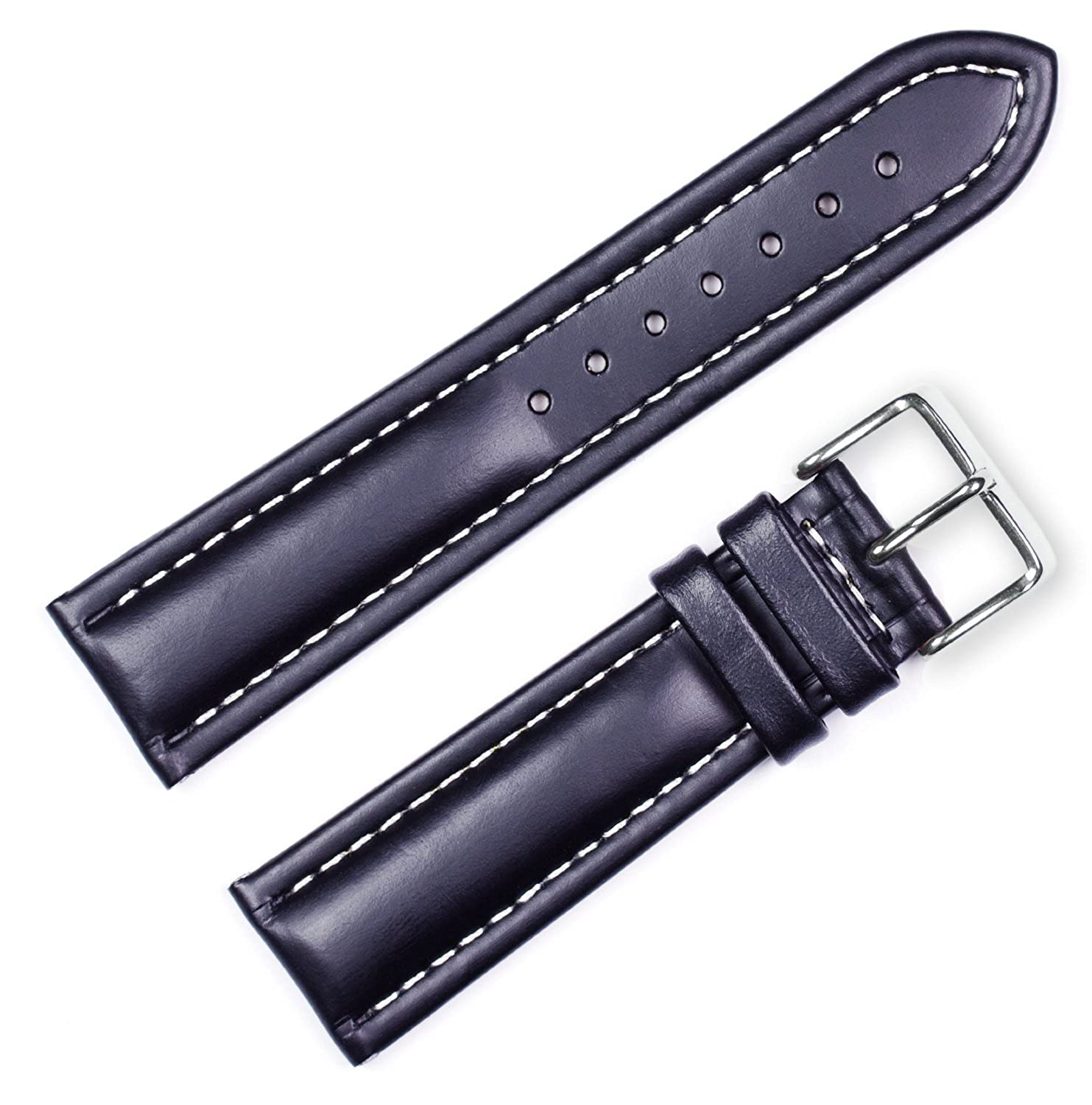 19mm DB Soft Oil Tanned Genuine Leather Contrast Stitch Black Watch Band fits BREITLING chrome spring black stitch leather solo with bracket seat fits fits for harley sportster chopper custom