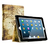 Ruban iPad 2/3/4 Case Release [Corner Protection] - [Scratch-Resistant] and High-Grade PU Leather Folio Stand Smart Cover, Auto Wake/Sleep for Apple iPad 2th/3th/4th Gen with Retina Display,World Map (Color: World Map, Tamaño: iPad 2/3/4)