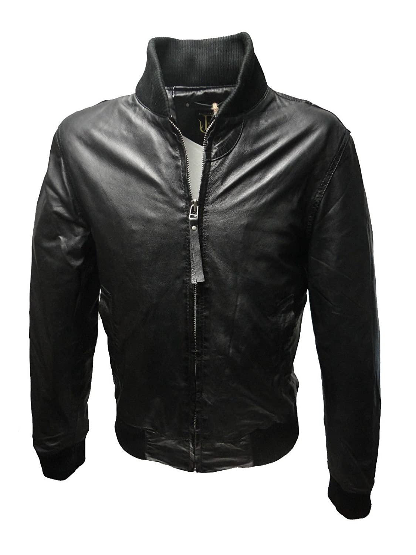 SALAS von RICANO, Herren Echt Nappa College Leder Jacke (schwarz)
