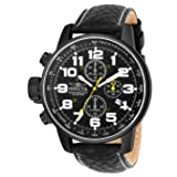 Invicta Men's 3332 Force Collection Stainless Steel Left-Handed Watch with Black Leather Band (Color: Black)