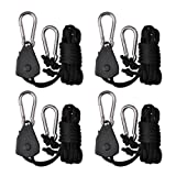 Zuggear 2 Pairs 1/8 Inch Adjustable Rope Ratchet Hangers, Grow Light Hanger Light Fixture Rope Ratchet, Indoor Gardening Rope Clip Hangers for Carbon Filters, Ventilation Equipment Pulley System (Color: Black, Tamaño: 2 Pairs)