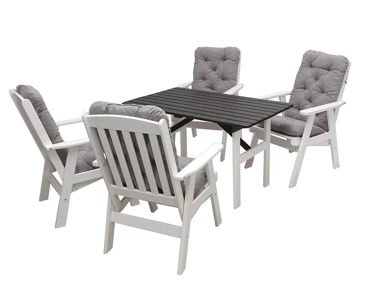 Ambientehome 90510 Gartengarnitur Gartenset Sitzgruppe verstellbarer Hochlehner Varberg weiß inkl. grau Kissen und Tisch Hanko 120×70 cm 9-teiliges Set günstig bestellen