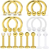 Dyknasz 16Pcs Surgical Steel Lip Rings Clear Diamond CZ Labret Studs Tragus Horseshoe Ring Helix Hoop Earring Body Jewelry Piercing Retainer for Women Men 16 Gauge 8mm Gold-Tone (Color: 8 Pairs-Goldtone)
