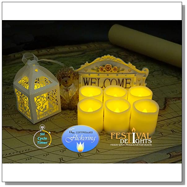 Timer Flameless Candles By Festival Delights? - Premium IC-controlled Soft Flickering Votive Battery Operated Candles, 70+ Hours of Lighting, 5-Hours-Cycle Timer, Dia. 1.5