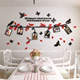 Alicemall 3D Wall Sticker Black Branch Red Leaves with Birds and Butterflies Photo Frame Decorative Wall Sticker (Small, Black&Red) (Color: Red-small, Tamaño: Small)