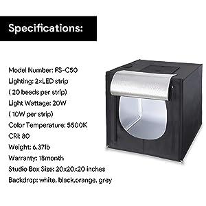 Amzdeal Light Box Photo Studio 20 x 20 inch Professional