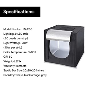 Amzdeal Light Box Photo Studio 20 x 20 inch Professional Photography Tent with LED Light 4 Backdrops (White Black Orange Grey) (Tamaño: 20 inch)