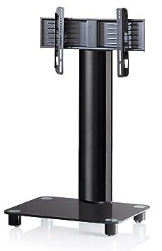 vcm bilano meuble meuble colonne avec pied en verre pour tv tv noir tv vid o m356. Black Bedroom Furniture Sets. Home Design Ideas