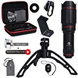 RUTELO Telephoto Lens for Smartphone with Tripod & Bluetooth Shutter Remote- Ultra Powerful 25X Coated Optical Glass - Camera Lens Attachment for iPhone X, XS, MAX, XR, 8 7 6 Plus, 5, 5s, Samsung (Color: black)